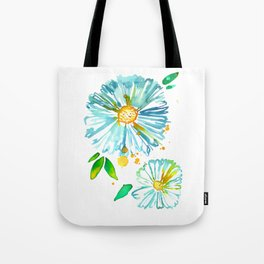 Lakeside Watercolour Blue Daisies Tote Bag