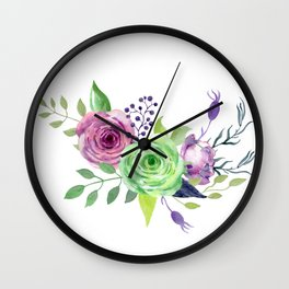 Posy GREEN AND VIOLET Painted - bouquet, nosegay, flower Wall Clock