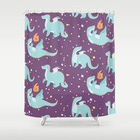 mother of dragons Shower Curtains featuring Dragons! by Maddii Bach