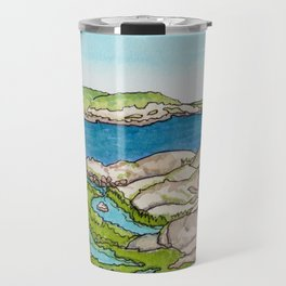 Peggy's Cove Watercolour Painting Backside Travel Mug