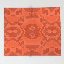 Geometric Aztec in Chile Red Throw Blanket