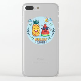 Pineapple And Watermelon Hello Summer Clear iPhone Case