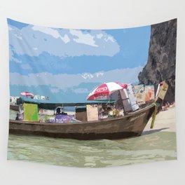 Thai Long Boat Wall Tapestry