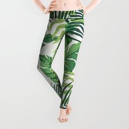 Green tropical leaves II Leggings