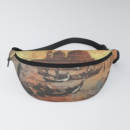 Watercolor painting of gondola boats on Piazza San Marco at sunset in the medieval city of Venice Fanny Pack