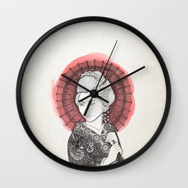 Japanese flag and Geisha Wall Clock