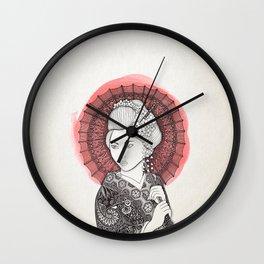 Japanese flag and Geisha Wall Clock