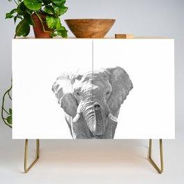 Black and white elephant illustration Credenza