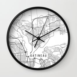Gatineau Map, Canada - Black and White Wall Clock