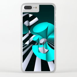 polynomials - turquoise and opart Clear iPhone Case