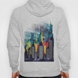 New York City Skyscrapers In Watercolor Art, Travel Digital Download, New York Poster, Wall Art Home Hoody