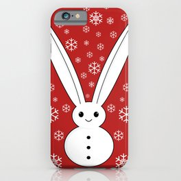 Snow bunny and snowflakes red iPhone Case