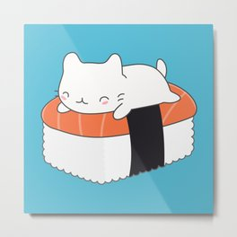 Kawaii Cute Sushi Cat Metal Print