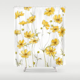 Yellow Cosmos Flowers Shower Curtain
