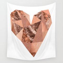 Rose gold geometric heart - glitter & foil Wall Tapestry