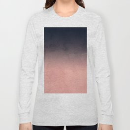 Modern abstract dark navy blue peach watercolor ombre gradient Long Sleeve T-shirt