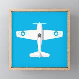 F6F Hellcat WWII Fighter Aircraft - Cyan Framed Mini Art Print