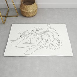 Minimal Line Art Woman with Peonies Rug