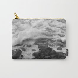 White Waves on Black Rocks Photographic Print Carry-All Pouch