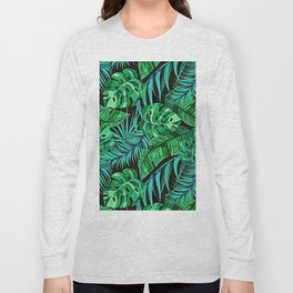 Blue and Green Ferns and Tropical Leaves Long Sleeve T-shirt