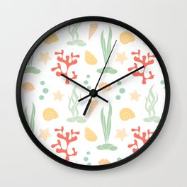 cute summer pattern background with seashells, corals and starfishes Wall Clock