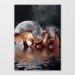 Mystical Dragon and Moon Fantasy Design Canvas Print