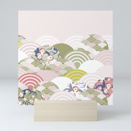 scales simple Nature background with japanese sakura flower, rosy pink Cherry, wave circle pattern Mini Art Print