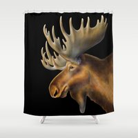 moose Shower Curtains featuring Moose by Tim Jeffs Art