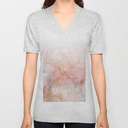 Beautiful Pink and Gold Ombre marble under snow Unisex V-Neck