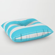 Aqua Teal- Maritime Aqua Teal Stripes Pattern - Mix & Match Floor Pillow