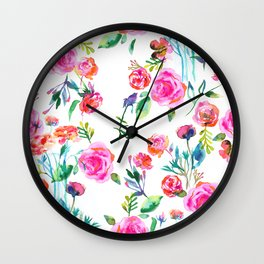 Roses bouquet watercolor pattern Wall Clock