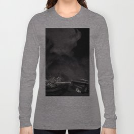 Cigarette Smoke Black and White Photo Long Sleeve T-shirt