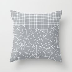 Abstract Outline Grid Grey Throw Pillow