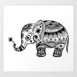 Cute Floral Elephant illustration In Black Art Print