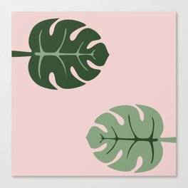 Tropical leaves Monstera deliciosa green and pink #monstera #tropical #leaves #floral #homedecor Canvas Print