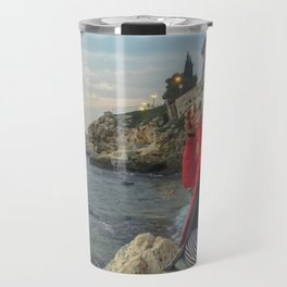 Woman taking a picture in a beach in the Rovinj city center Travel Mug
