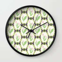 Spring Flowers Tulips and Lily of the Valley Illustrated Pattern Print Wall Clock