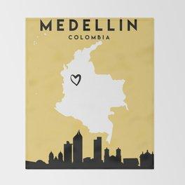 MEDELLIN COLOMBIA LOVE CITY SILHOUETTE SKYLINE ART Throw Blanket