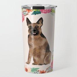 german shepherd dog floral wreath dog gifts pet portraits Travel Mug