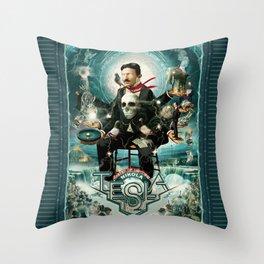 Nikola Tesla Master of Lightning Throw Pillow