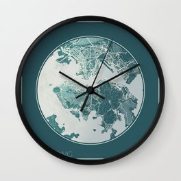 Hong Kong Map Planet Wall Clock