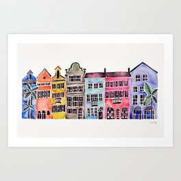 Rainbow Row – Charleston Art Print
