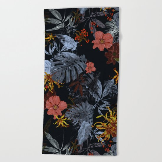 Tropical Midnight Beach Towel