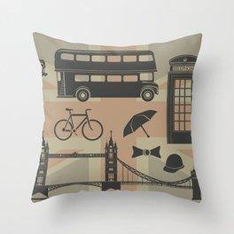 vector set of London landmarks Britain symbols isolated Throw Pillow