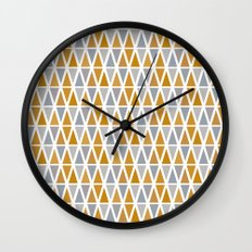 Golden and silver triangles Wall Clock