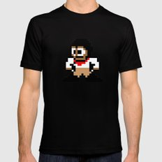 8-bit Andres Pose 1 MEDIUM Black Mens Fitted Tee
