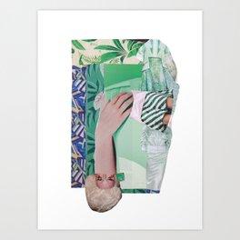 Wanda Goes on Vacation - green modern collage Art Print
