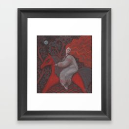 Red Horse, redhaired woman, magic night forest, folk art Framed Art Print