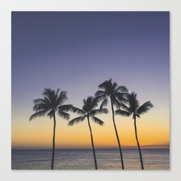 Palm Trees w/ Ombre Tropical Sunset - Hawaii Canvas Print