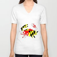 house md V-neck T-shirts featuring Md crab by junaputra
